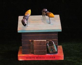 Vintage Money Makes Honey Wooden Bee House Bank W/ Lock