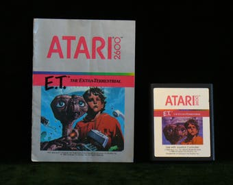 Vintage 1982 Atari 2600 E.T. The Extra-Terrestrial Video Game Cartridge With Instructions Book