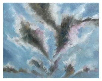painting clouds atmosphere wind oil painting landscape oil painting on canvas piece small 25, 4x20 .3