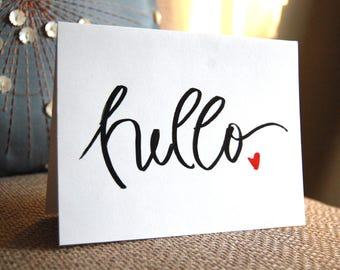 Hello with Heart, Note Card, Marker Style