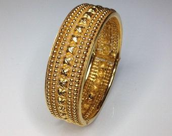 "Estate 22K Yellow Gold Etruscan Style 0.75"" Wide Bangle Bracelet 40 Grams"