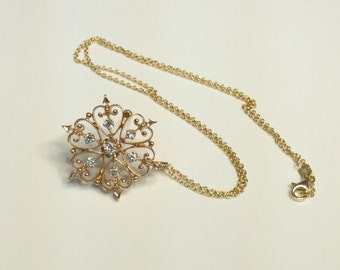 Estate 14K Yellow Gold 0.45 CTW Diamond Hearts & Arrows Pin Necklace 7.25 Grams