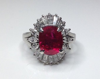 Estate Vintage GRS Certified 4.16 CTW Natural Red Ruby Diamond Platinum Ring!