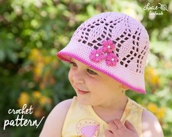 Crochet Hat PATTERN No.55 - Summer Hat Crochet Pattern, Spring hat, Summer cap, Spring cap, Crochet flowers,
