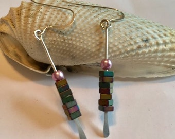 Sterling silver dangles with hematite and pearl