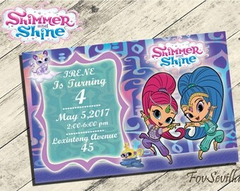 Shimmer and Shine Invitation,Shimmer and Shine Birthday invitation,Shimmer and Shine birthday party,partido Shimmer and Shine,shimmer and sh