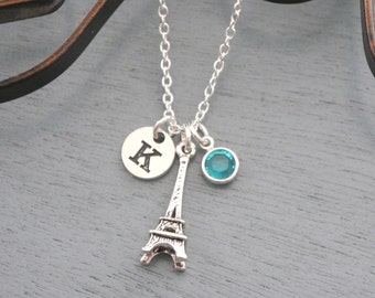 Eiffel Tower Necklace, Personalized Eiffel Tower Necklace, Silver Eiffel Tower Necklace, Initial Necklace, France Necklace, Paris Necklace