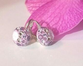 Pink violet multi-stone earrings