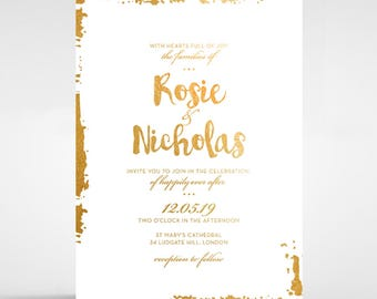 Rustic Romance Wedding Invitation, Foil Stamping 116082