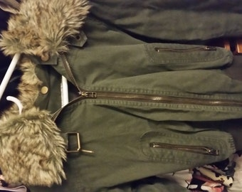 Army Green Fur Hood Fashion Parka