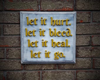 Wooden Wall Sign, Yellow Wall Art, Home Decor, Wall Art, Let it go, Wall Decor, Yellow Art, Distressed Art, Rustic Art, Rustic Sign, Inspire