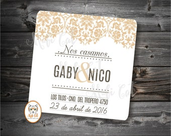 Wedding invitation - Wedding invitation - printable invitation - invitation modern vintage. Card ornamental, Save the Date.