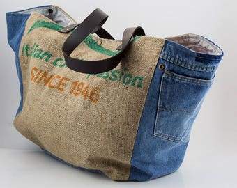 big bag jute and leather straps jeans