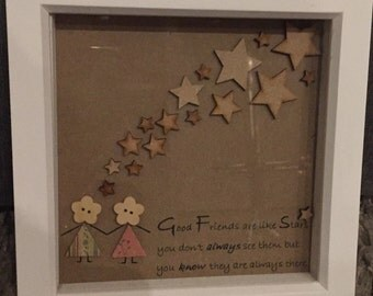"Handcrafted Special Gift for ""Friends""  who are ""Stars"" Frame"