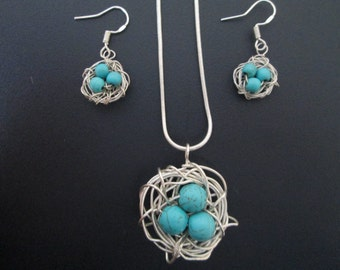 Bird Nest Earrings and Necklace Set