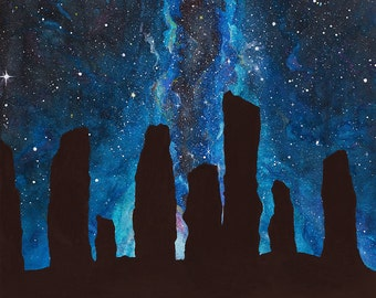 Standing Stones watercolor painting of Calanais (Callanish) featured in Outlander with a milky way night sky galaxy
