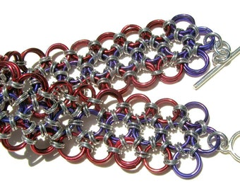 "Japanese Lace Chain-Maille Anodized Aluminum Weave Bracelet 6 3/4"" (17cm) Long"