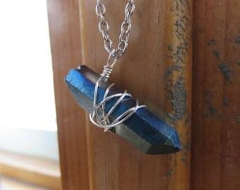 Blue Iris Quartz Pendant Necklace