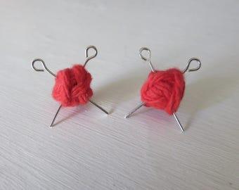 Red Yarn Ball Stud Earrings