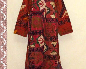 special uzbek silk hand embroidered naturally colored coat robe chapan b307