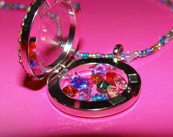 Birthstone Magnetic Locket with Beaded Chain