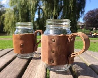 Leather jar holder (with jar)
