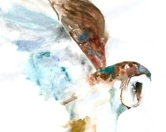 Owl in Flight Watercolour Print
