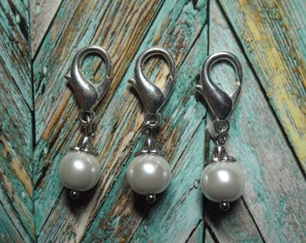 Pearl Stitch Markers - Set of Three - Decorative Stitch Markers for Knit and Crochet