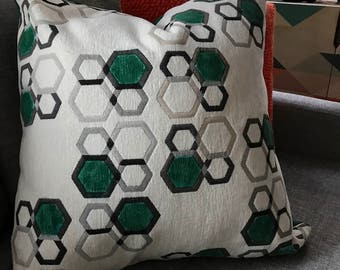 Green honeycomb painted pillow case