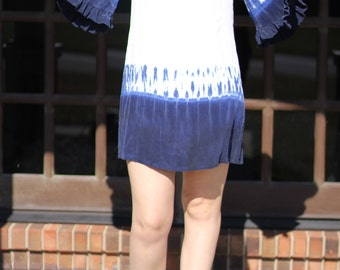 Vintage Style Boho Tie Dye Silk Dress Size Medium