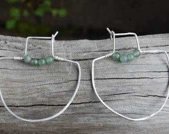 Silver Shield Hoops with Aventurine