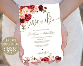 Printable Wedding Invitation Template. Burgundy Floral Watercolor Wedding Invite. We Do Gold Invitation.PDF Instant Download VRD137AWG