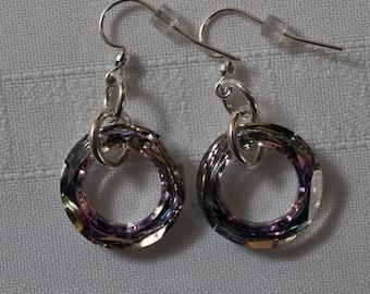 Swarovski 20mm, Vitrail - Mauve tones Cosmic Ring Earrings/Gift/Women/All Occasion/Swarovski Crystal