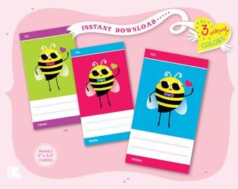 Printable Love Bee Cards - Vertical