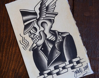 Rebel Skull Tattoo Flash Print