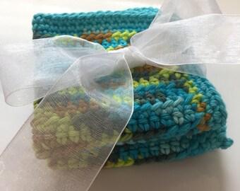 Sea Blues Crochet Washcloth Set of 2