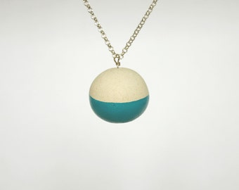 Lecce stone, turquoise ball, long pendant necklace, color turquoise