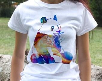 Panda T-shirt - Panda bear tee - Fashion women's apparel - Colorful printed tee - Gift Idea