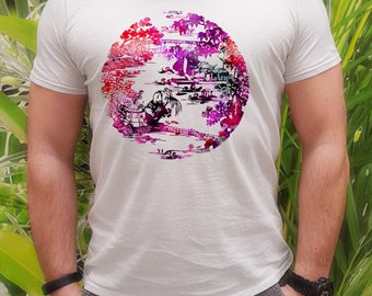 Japanese garden tee -  Fashion t-shirt - Fashion men's apparel - Colorful printed tee - Gift Idea