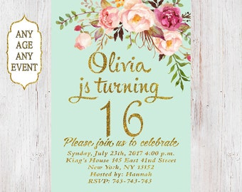 Floral 16th birthday invitation, birthday party invitations, teen girl mint and gold, 14th,15th,16th,17th,18th,19th,Any Age 09
