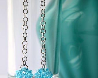 pendant earrings - teal/blue - beaded ball - crystal beaded ball - beadwoven jewelry - SoniaMalletCreations handmade