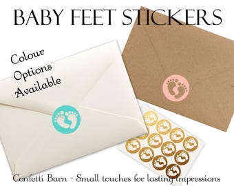 Baby Feet Stickers - Baby Shower - Removable Vinyl - Party Invitations - Envelope Sealing Stickers - Planner Stickers #42
