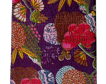 Sangrahan Handmade Indian Quilt Vintage Tropican fruit print Kantha spread Cotton Blanket Twin Gudri Quilt-3011