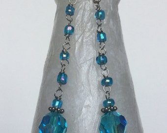 Aqua Blue Drop Down Swarovski Crystal