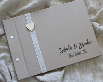 "Guest Book, ""Rustic Heart"", Weddings, Engagements, Birthdays, Anniversaries"