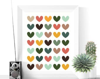 Mid Century Modern Hearts Printable | Abstract Print | Modern Art | Hearts Art Print | Colorful Printable | Romantic Art | Home Decoration