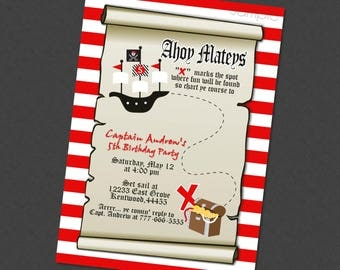 Pirate Treasure Map Birthday Invitation Available With or Without Photo