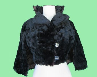 Vintage Art Deco Faux Fur Cape Jacket - Richland Mfg. Co, Blissfield, Mich.