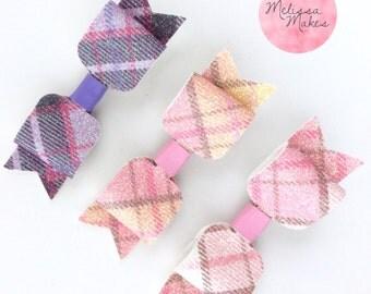 Tartan Glitter Bows, Pink Purple and Peach