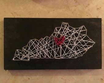 Hand crafted Kentucky string art